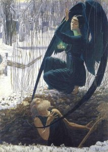 carlos-schwabe-the-death-of-the-grave-digger-1895